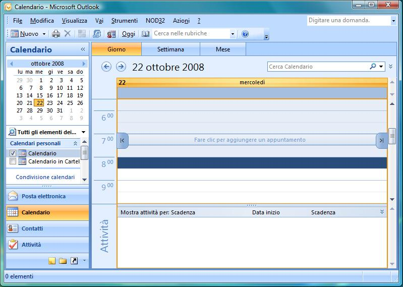 Finestra calendario di Outlook