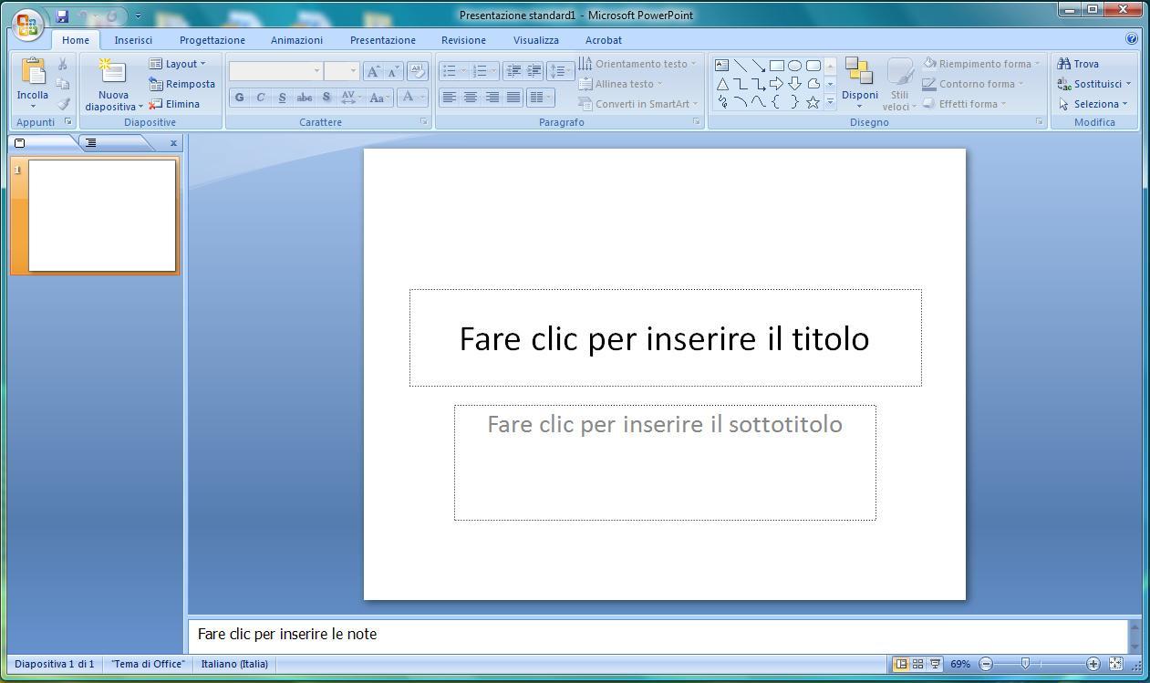 Microsoft Office Finestra Principale Di Powerpoint