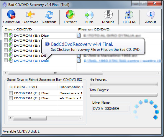 Bad CD/DVD Recovery