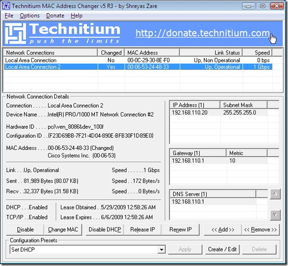 Technitium MAC Address Changer download